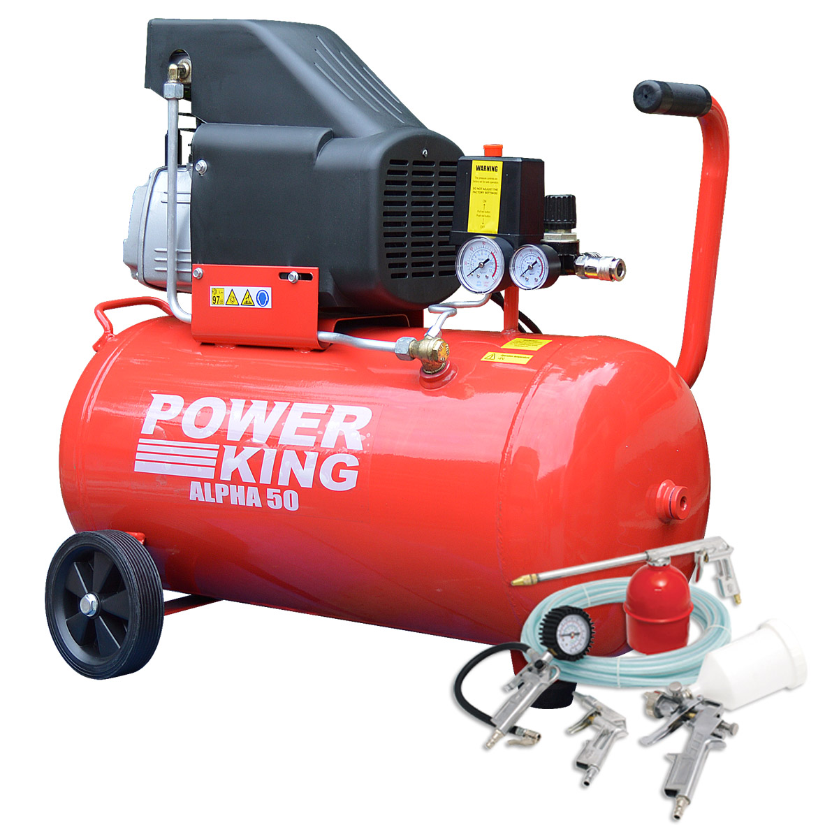 SALE-SAVE-Wolf-Power-King-Alpha-50-Litre-2HP-7-4cfm-Air-Compressor-5pc-Kit